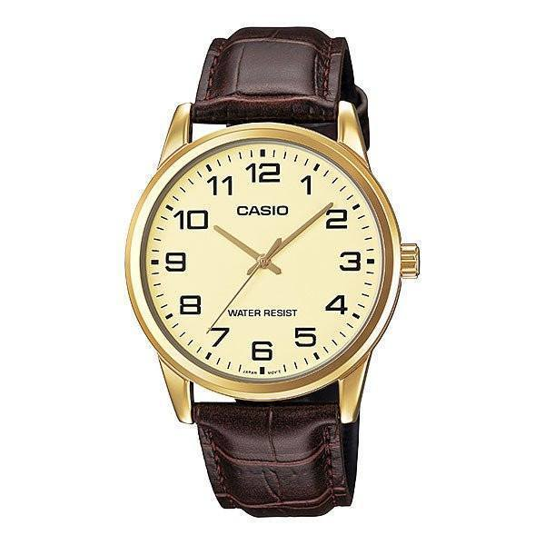 Casio Standard Men's Brown Leather Strap Wtach- MTP-V001GL-9B - Watchportal Philippines