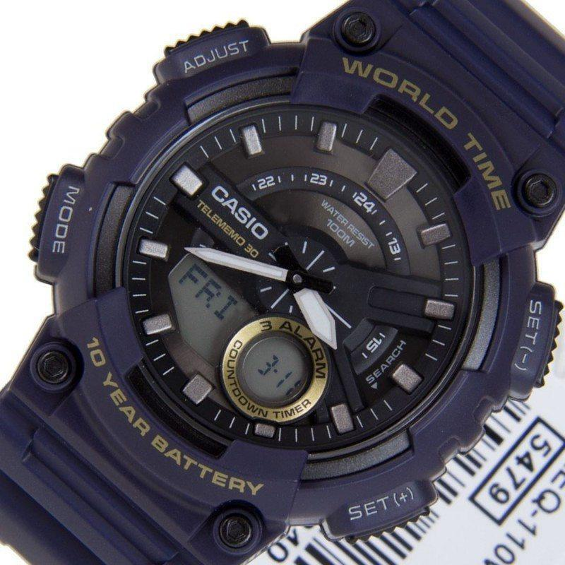Casio AEQ-110W-2A Navy Blue Resin Strap Watch for Men - Watchportal Philippines