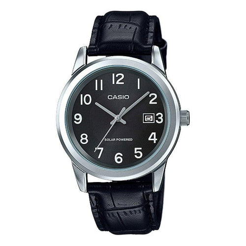 Casio Standard Men's Solar Powered Black Dial/ Black Leather Strap Watch- MMTP-VS01L-1B1DF - Watchportal Philippines