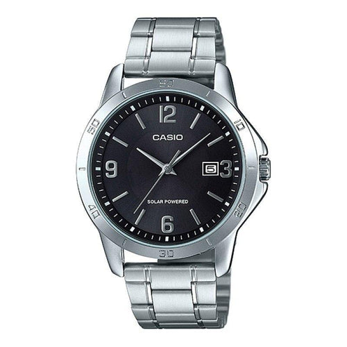 Casio Standard Men's Solar Powered Black Dial/ Silver Stainless Steel Strap Watch- MTP-VS02D-1ADF - Watchportal Philippines