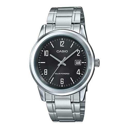 Casio Standard Men's Solar Powered Black Dial/Silver Stainless Strap Watch- MTP-VS01D-1BDF - Watchportal Philippines