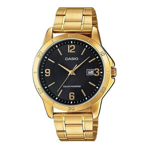Casio Standard Men's Solar Powered Blak Dial/Gold Plated Stainless Steel Strap Watch- MTP-VS02G-1ADF - Watchportal Philippines