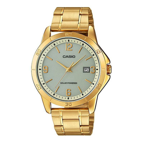 Casio Standard Men's Solar Powered Grey Dial/ Gold Plated Stainless Steel Strap Watch- MTP-VS02G-9ADF - Watchportal Philippines