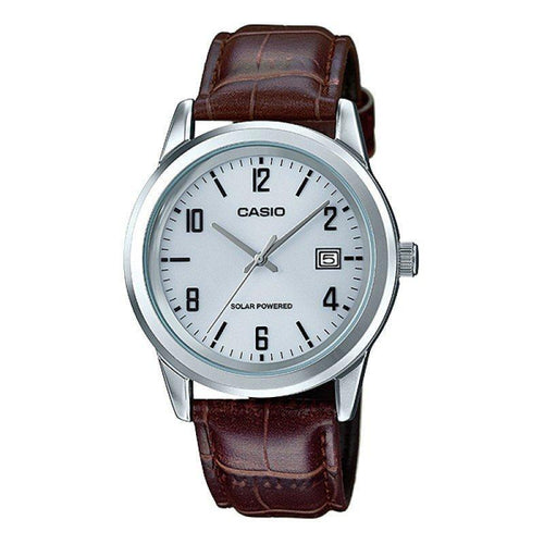 Casio Standard Men's Solar Powered White Dial/ Brown Leather Strap Watch- MTP-VS01L-7B2DF - Watchportal Philippines