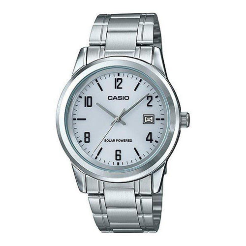 Casio Standard Men's Solar Powered White Dial/ Silver Stainless Steel Strap- MTP-VS01D-7B - Watchportal Philippines