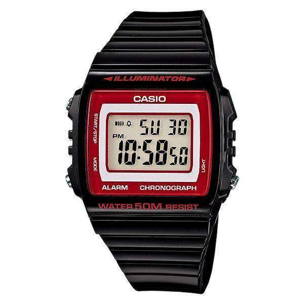 Casio Standard Unisex Black/Red Resin Strap Watch- W-215H-1A2 (One Size)- For Men and Women - Watchportal Philippines