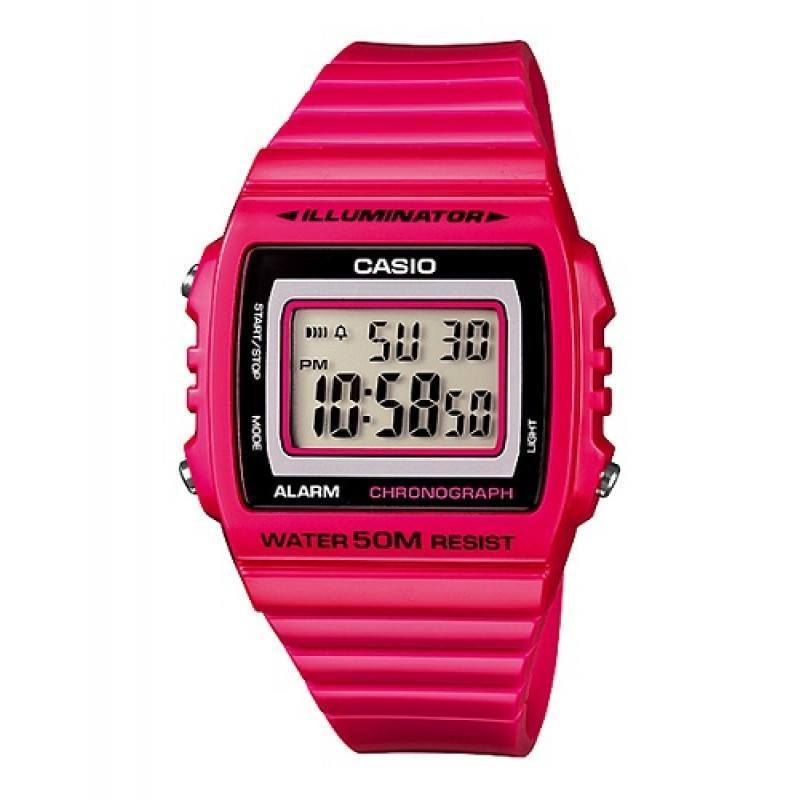 Casio Standard Unisex Fuchia Pink Resin Strap Watch- W-215H-4A (One Size)- For Men and Women - Watchportal Philippines