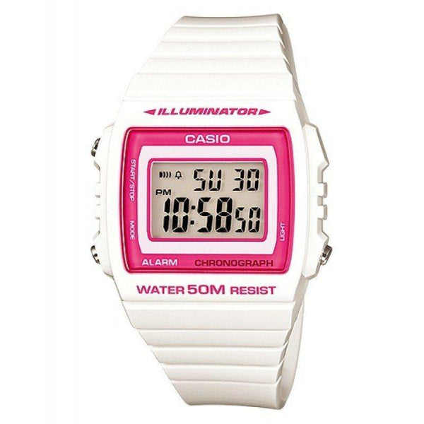 Casio Standard Unisex White/Pink Resin Strap Watch- W-215H-7A2 (One Size)- For Men and Women - Watchportal Philippines