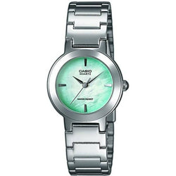 Casio Standard Women's Silver/Green Stainless Steel Strap Watch- LTP-1191A-3C (Small Size) - Watchportal Philippines