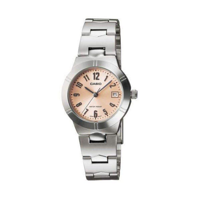 Casio Standard Women's Silver/Orange Stainless Steel Strap Watch- LTP-1241D-4A3 (Small Size) - Watchportal Philippines