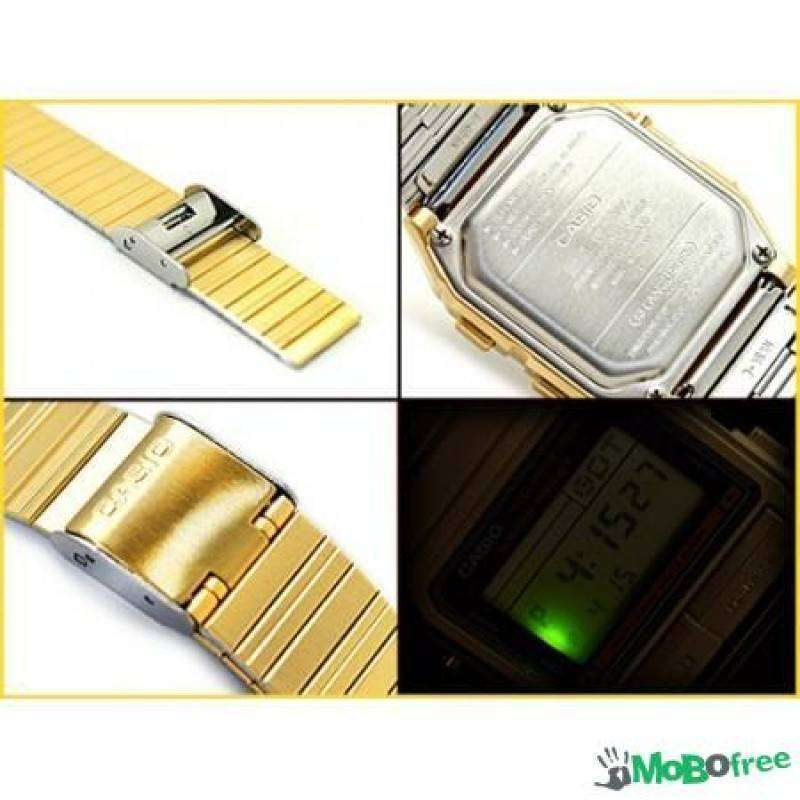 Casio Vintage Unisex Gold Plated Stainless Steel Strap Watch- DB-380G-1D (One Size) - For Men and Women - Watchportal Philippines