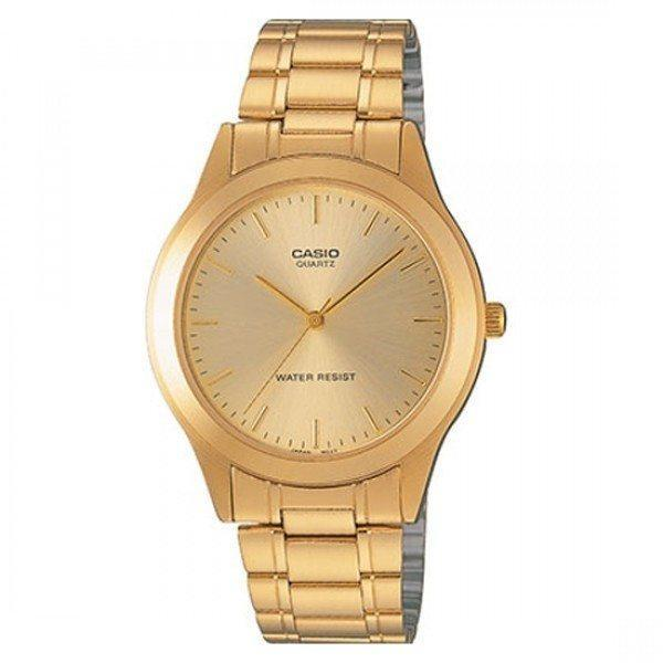 Casio Vintage Unisex Gold Plated Stainless Steel Strap Watch- MTP-1128N-9ARDF (One Size) - For Men and Women - Watchportal Philippines