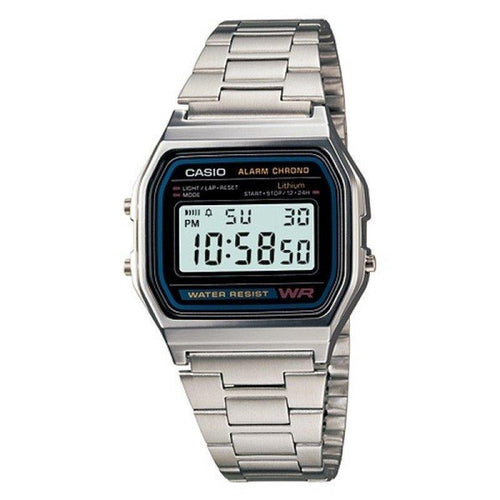 Watches - Casio Vintage Unisex Silver Stainless Steel Strap Watch -  A158WA-1D (One Size) - For Men And Women