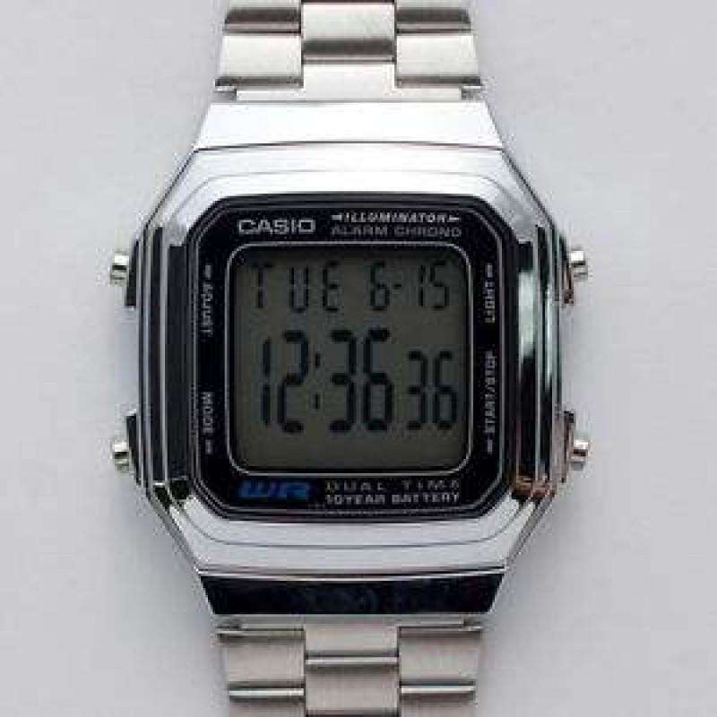 Watches - Casio Vintage Unisex Silver Stainless Steel Strap Watch -  A178WA-1A (One Size) - For Men And Women