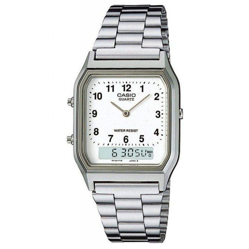 Casio Vintage Unisex Silver Stainless Steel Strap Watch- AQ-230A-7B (One Size) - For Men and Women - Watchportal Philippines