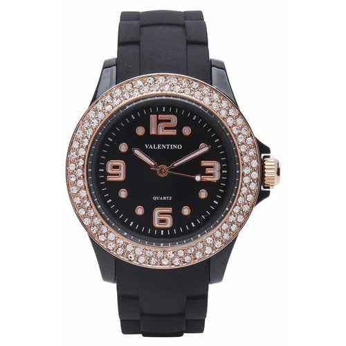 Watches - Valentino CASINO STONE CLASSIC WOMEN  RUBBER STRAP Strap Watch 20121779-BLACK - ROSE GOLD INDEX