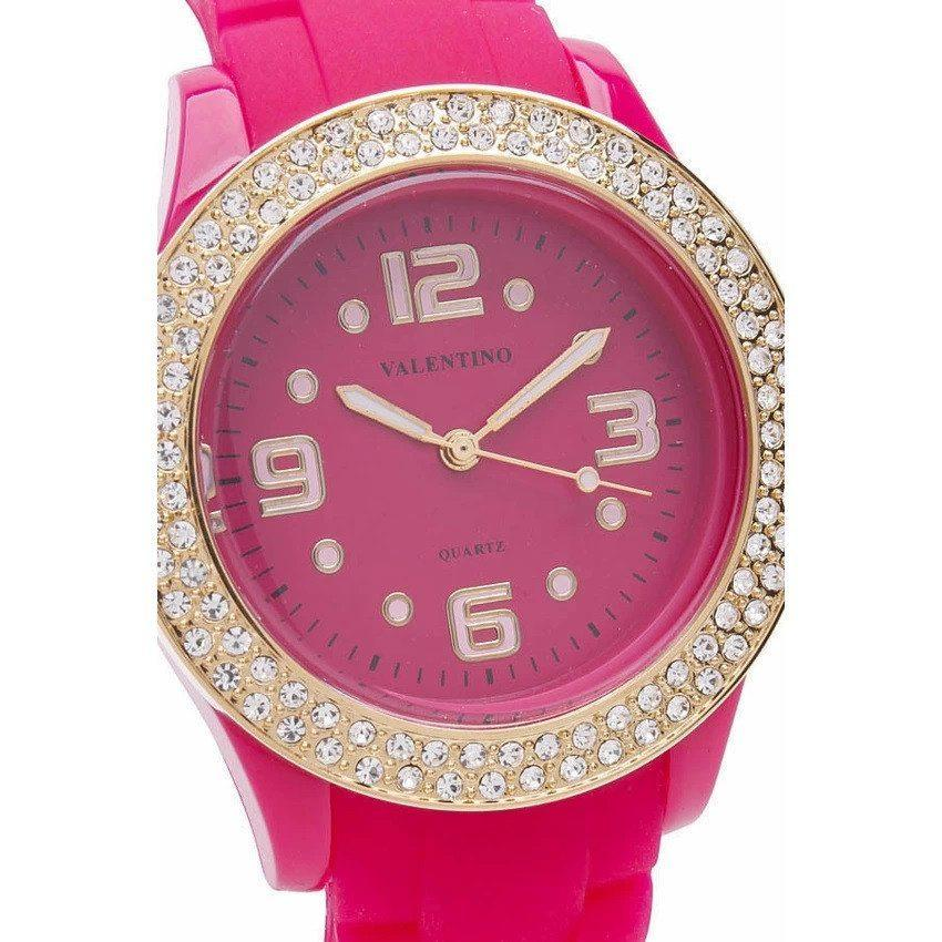 Watches - Valentino CASINO STONE CLASSIC WOMEN  RUBBER STRAP Strap Watch 20121779-PINK