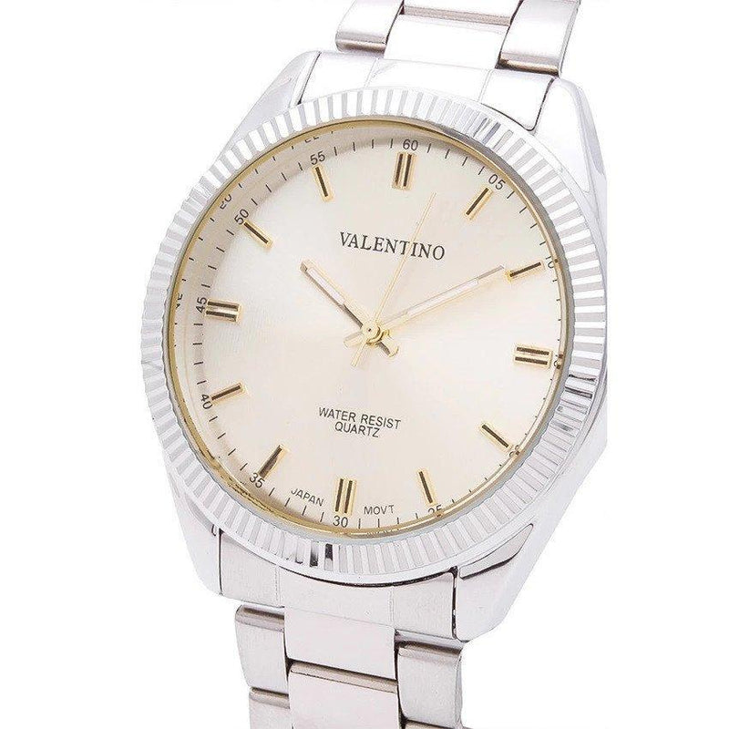 Watches - Valentino CASIO IP WHT MTL STYLE G MEN  STAINLESS BAND Strap Watch 20121679-SILVER - GOLD DIAL