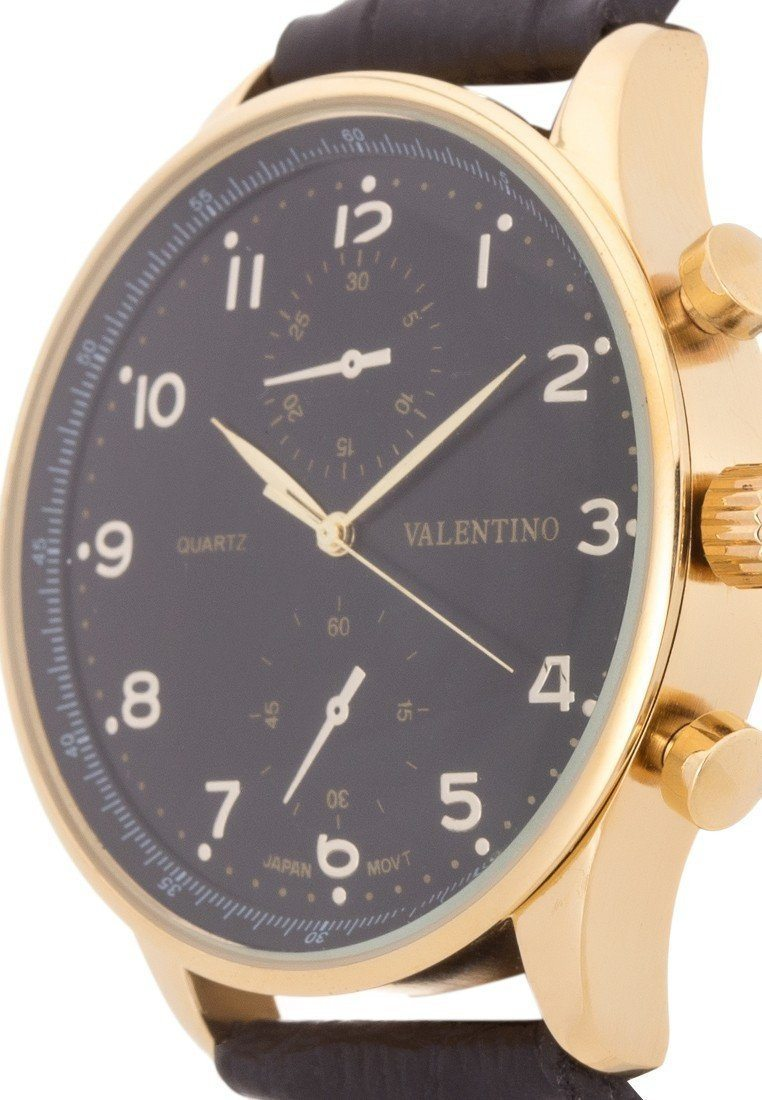 Watches - Valentino CLASSIC IWC LTR IPG STYLE MEN  LEATHER STRAP Strap Watch 20121921-BLK STRAP - BLACK DIAL
