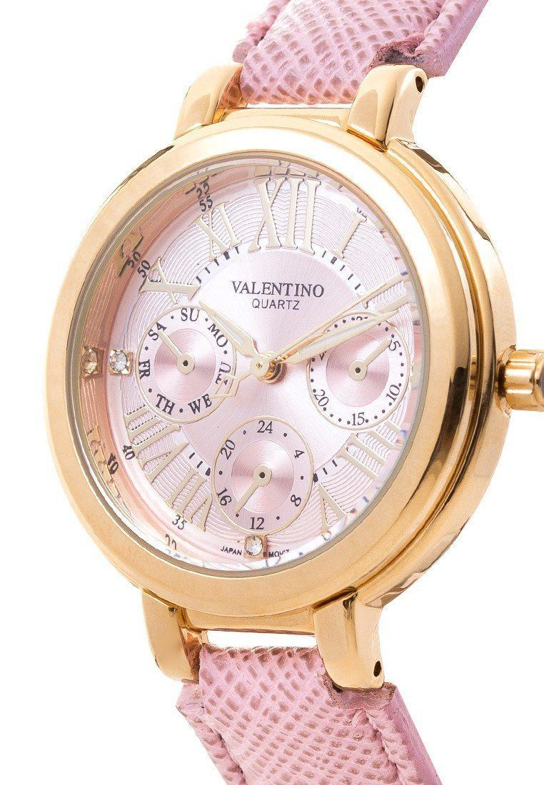 Watches - Valentino CLASSIC SHN LTHR IP GOLD WOMEN  LEATHER STRAP Strap Watch 20121923-PINK DIAL