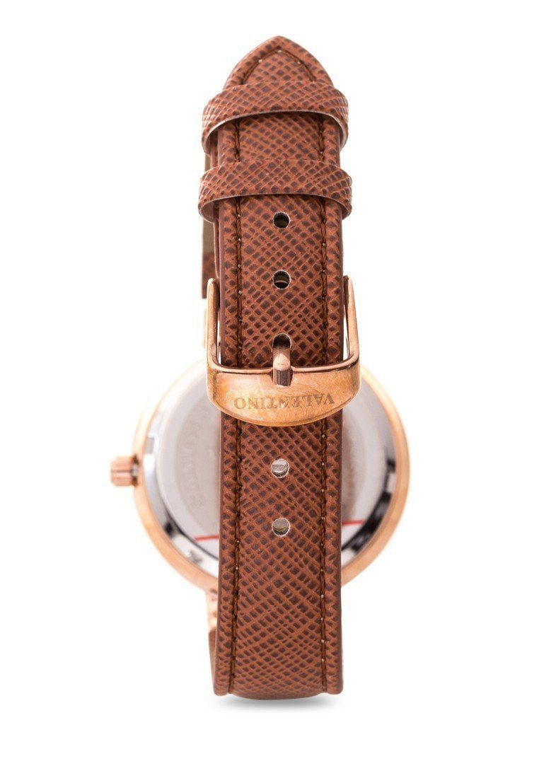 Watches - Valentino CLASSIC SHN LTHR IP ROSE WOMEN  LEATHER STRAP Strap Watch 20121924-BROWN DIAL