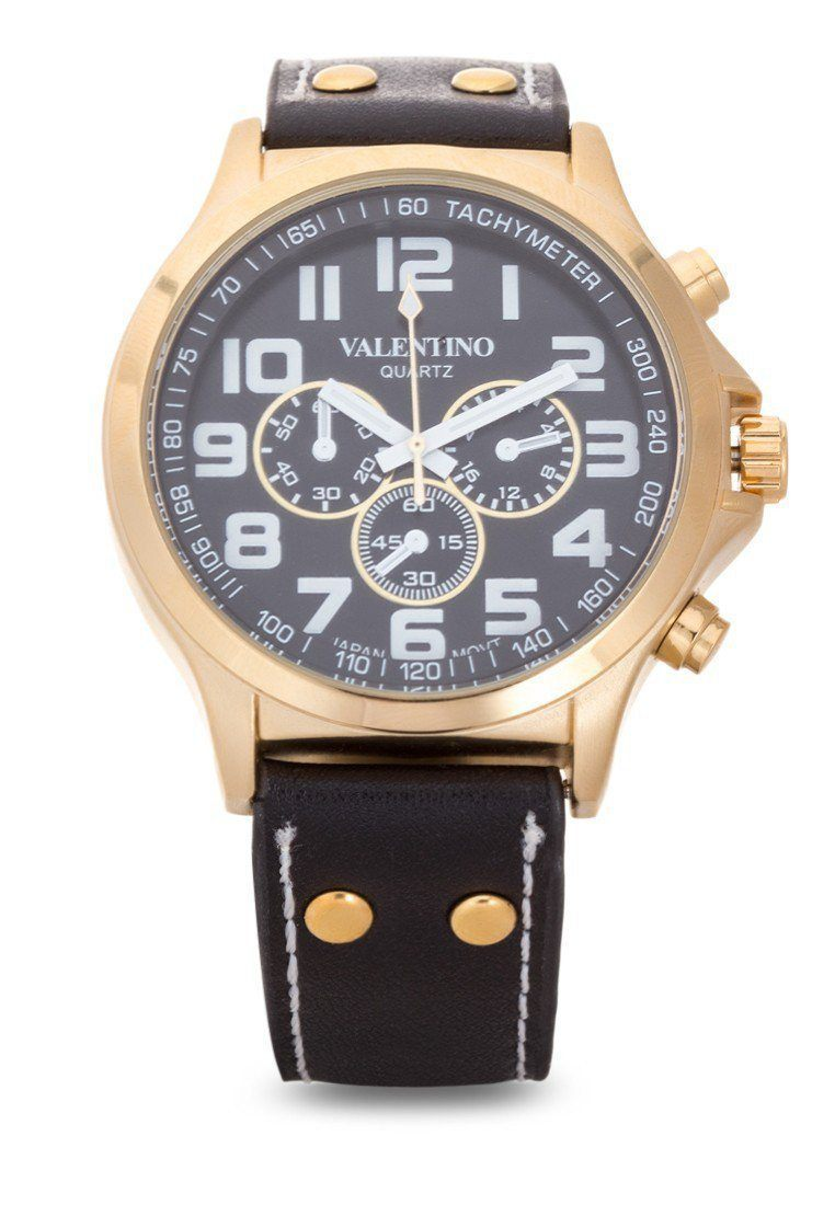 Watches - Valentino CLASSIC TW STL LTHR IPG&B MEN  LEATHER STRAP Strap Watch 20121929-GD CASE - BLK DIAL