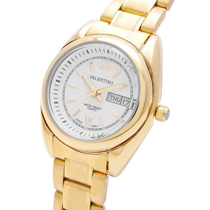 Watches - Valentino CTZ D/D IP GOLD L WOMEN  STAINLESS STEEL BAND Strap Watch 20121685-GOLD - WHITE DIAL