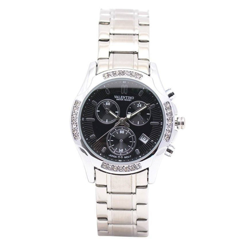 Watches - Valentino CTZ SUPREME IP WHT STYLE WOMEN  STAINLESS BAND Strap Watch 20121851-BLACK DIAL