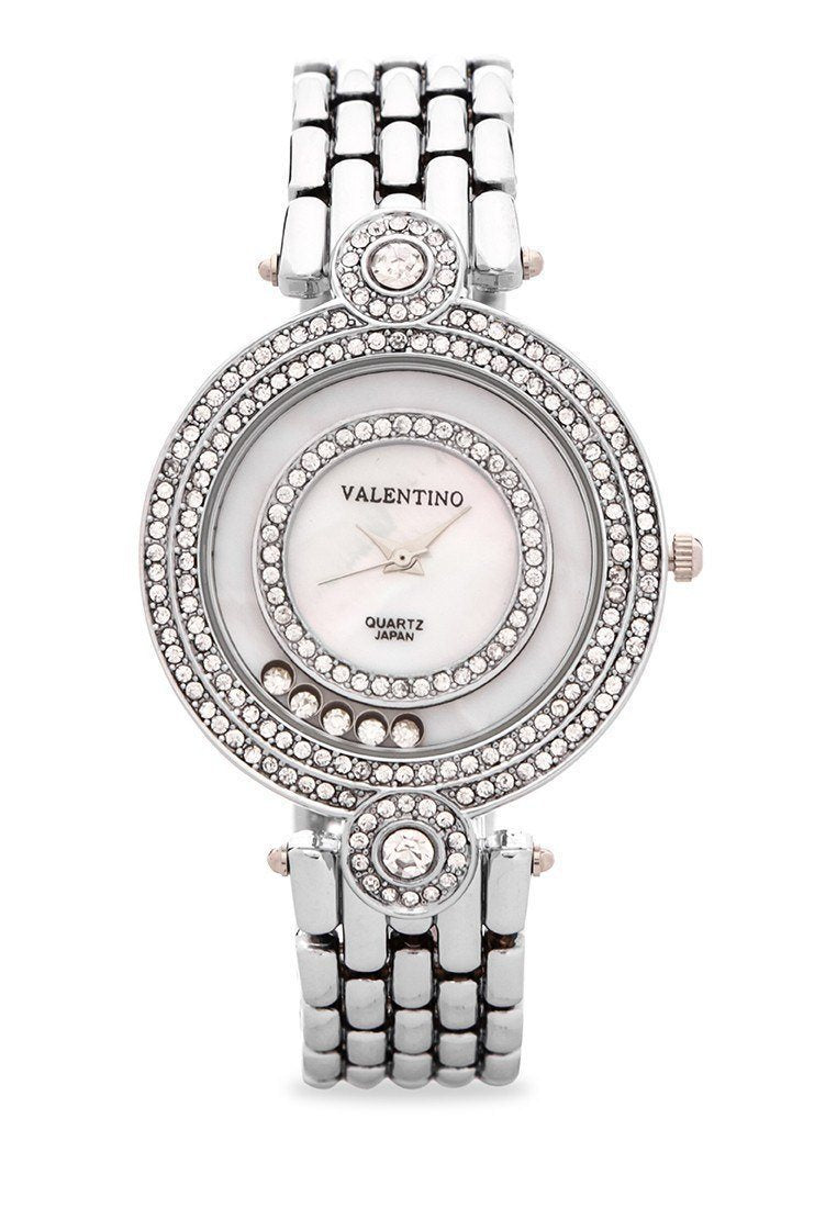Watches - Valentino DIAMOND IP CLASSIC WOMEN  FASHION METAL - ALLOY Strap Watch 20121885-SILVER