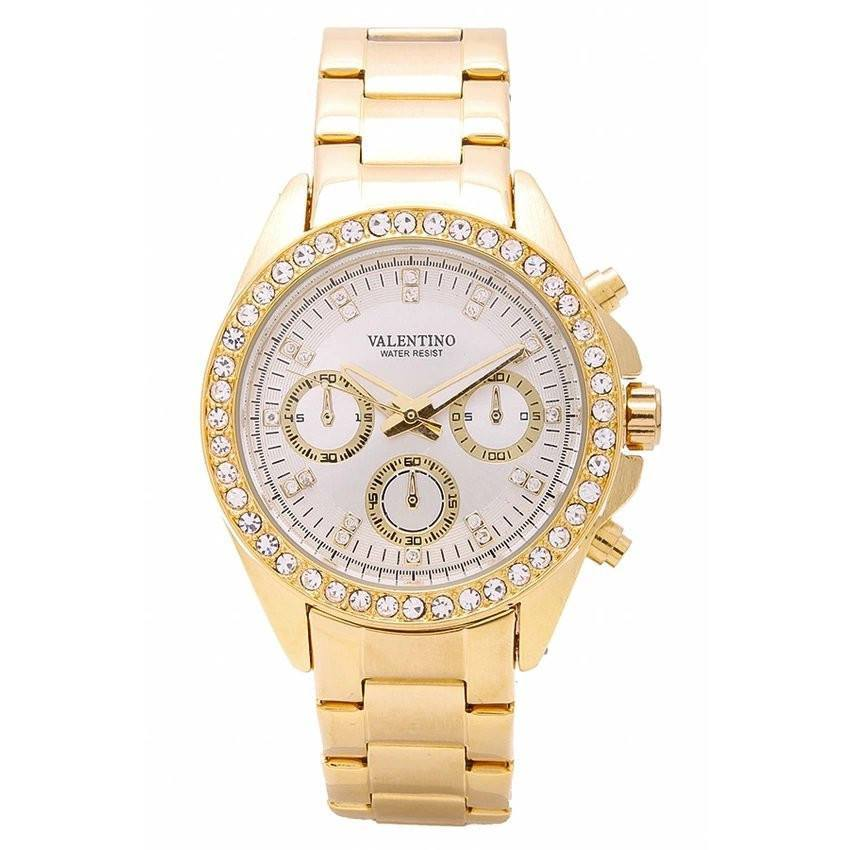 Watches - Valentino EXCALIBUR IP GOLD WOMEN  STAINLESS STEEL BAND Strap Watch 20121502-GOLD - WHITE DIAL