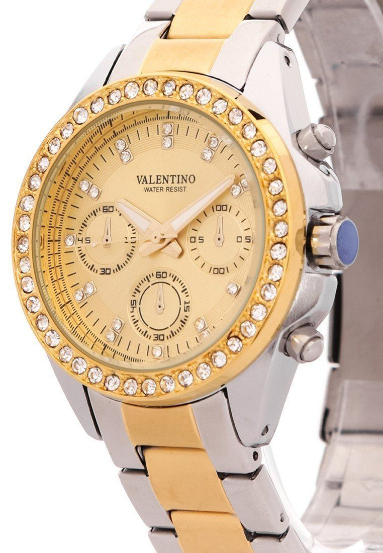 Watches - Valentino EXCALIBUR IP GOLD WOMEN  STAINLESS STEEL BAND Strap Watch 20121502-TWO TONE - GOLD DIAL