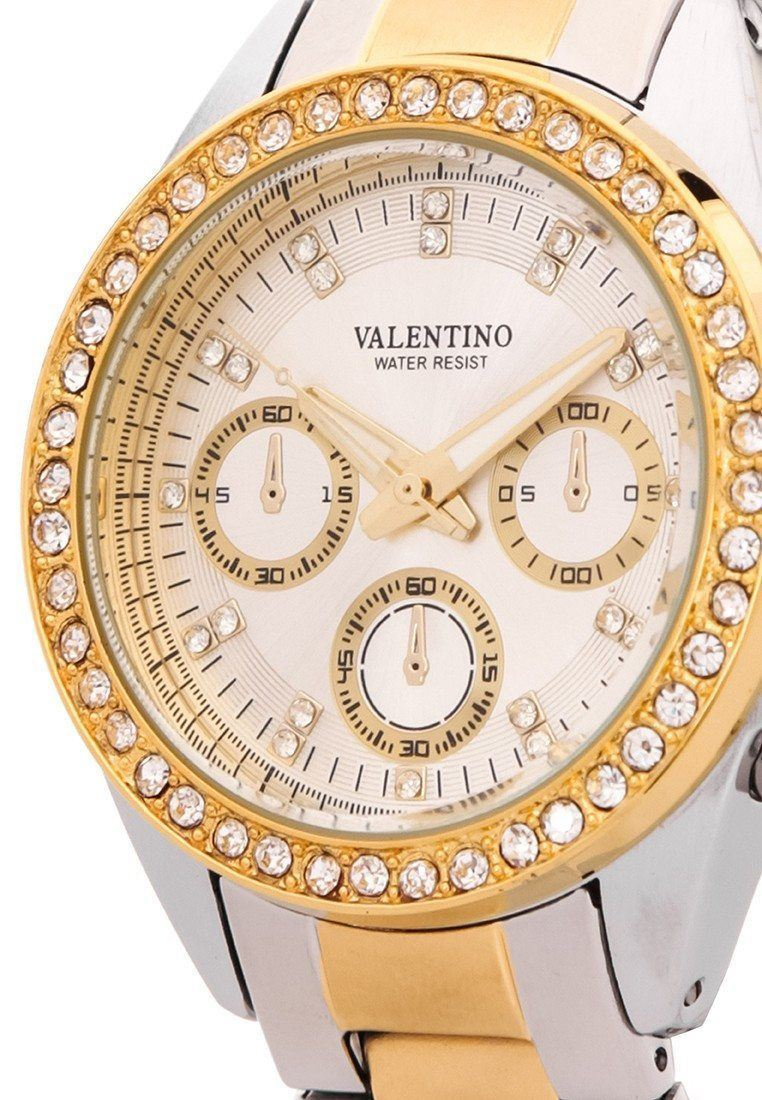 Watches - Valentino EXCALIBUR IP GOLD WOMEN  STAINLESS STEEL BAND Strap Watch 20121502-TWO TONE - WHITE DIAL
