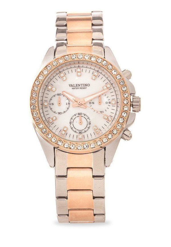 Watches - Valentino EXCALIBUR IP ROSE GOLD WOMEN  STAINLESS STEEL BAND Strap Watch 20121662-TWO TONE - MOP DIAL