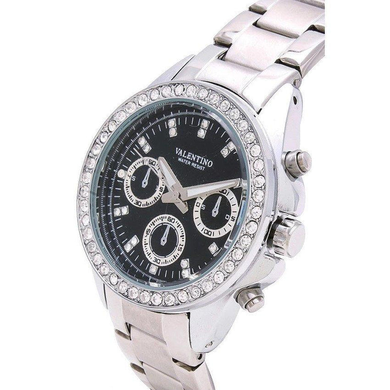 Watches - Valentino EXCALIBUR IP WHITE WOMEN  STAINLESS STEEL BAND Strap Watch 20121503-WHITE - BLACK DIAL