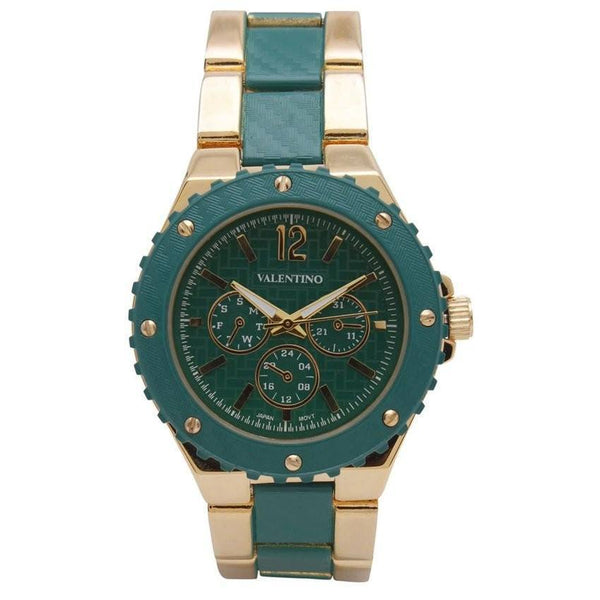 Watches - Valentino FOSSIL SPORTS IP STYLE WOMEN  FASHION METAL - ALLOY Strap Watch 20121835-GOLD AND GREEN