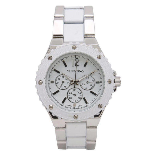 Watches - Valentino FOSSIL SPORTS IP STYLE WOMEN  FASHION METAL - ALLOY Strap Watch 20121835-SILVER AND WHITE