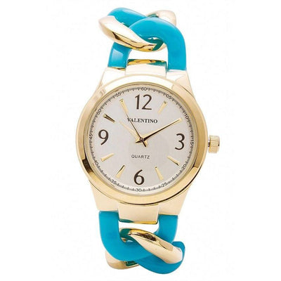 Watches - Valentino MK TORTOISE STYLE WOMEN  FASHION METAL - ALLOY Strap Watch 20121770-GOLD AND BLUE