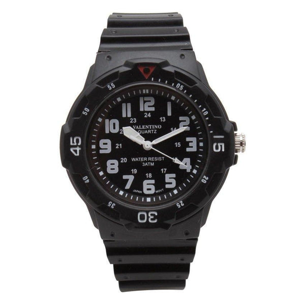 Watches - Valentino MRW SPORTS STYLE MEN  RUBBER STRAP Strap Watch 20121811-BLACK DIAL - WHITE INDEX