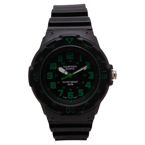 Watches - Valentino MRW SPORTS STYLE MEN  RUBBER STRAP Strap Watch 20121811-GREEN INDEX