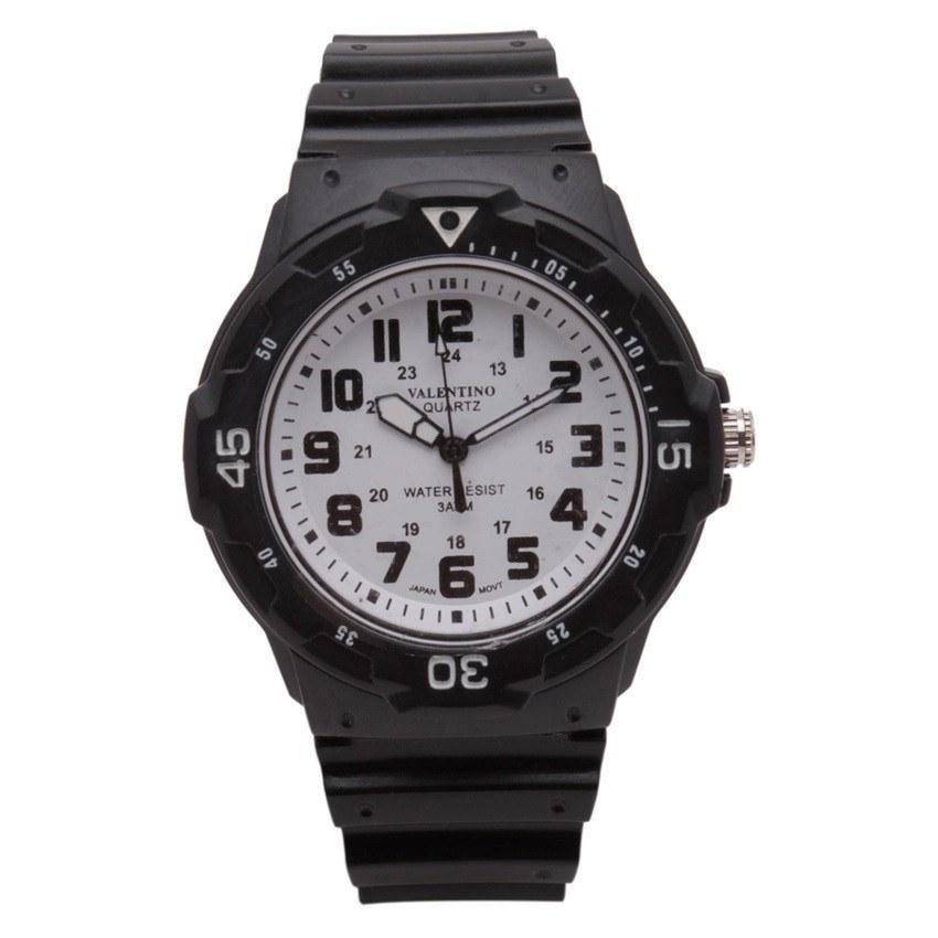 Watches - Valentino MRW SPORTS STYLE MEN  RUBBER STRAP Strap Watch 20121811-WHITE DIAL - BLACK INDEX