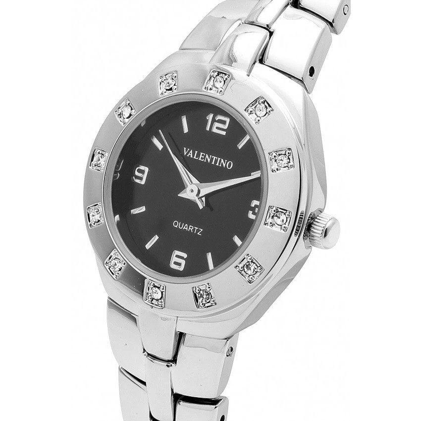Watches - Valentino OMEGA IP CLASSIC STYLE WOMEN  FASHION METAL - ALLOY Strap Watch 20121760-SILVER - BLACK DIAL