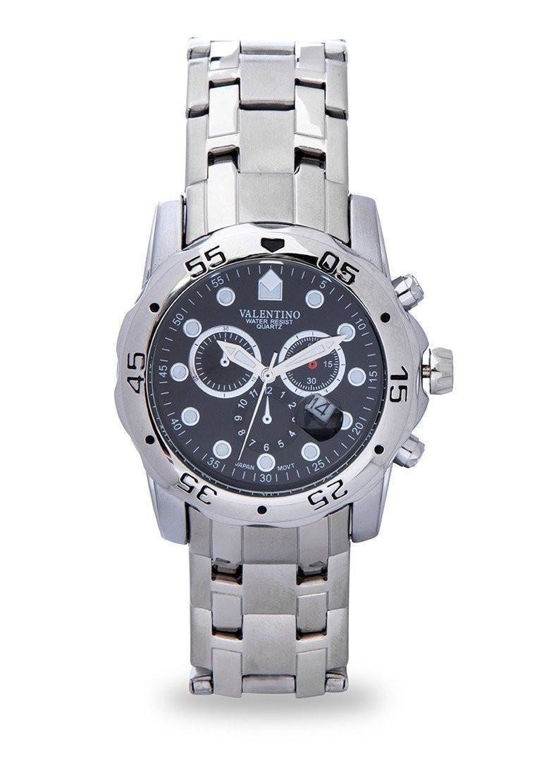 Watches - Valentino ORIENT CLSC WD IPS STYLE MEN  STAINLESS BAND Strap Watch 20121884-WHITE - BLACK DIAL