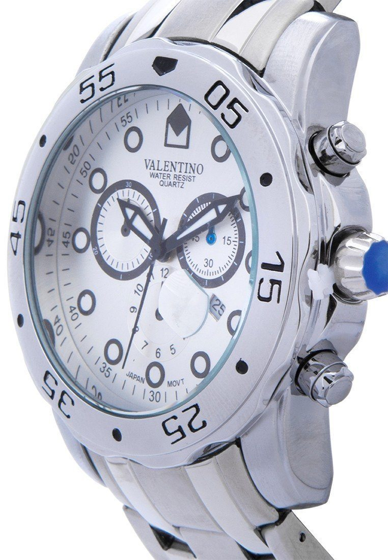 Watches - Valentino ORIENT CLSC WD IPS STYLE MEN  STAINLESS BAND Strap Watch 20121884-WHITE - SILVER DIAL