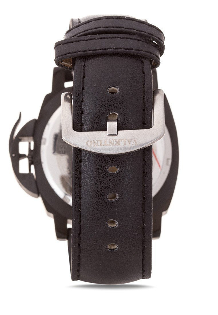 Watches - Valentino PANERAI IP LTHR STYLE MEN  LEATHER STRAP Strap Watch 20121907-BLACK BK - BLACK DIAL