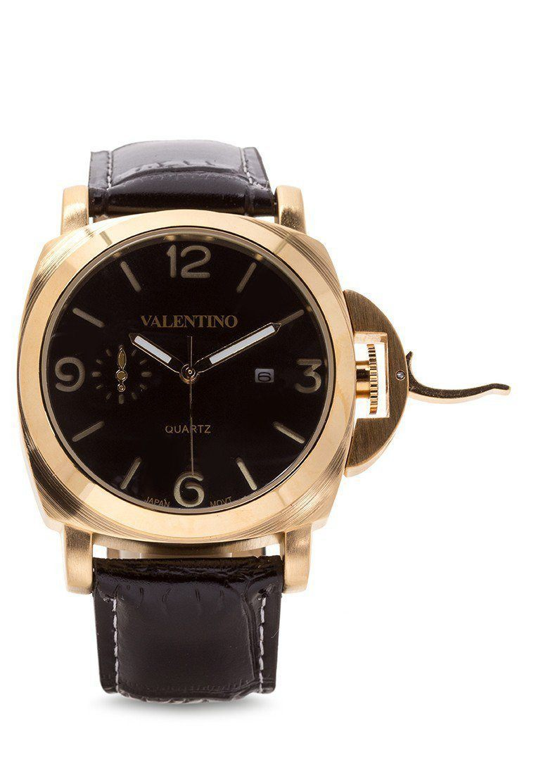 Watches - Valentino PANERAI IP LTHR STYLE MEN  LEATHER STRAP Strap Watch 20121907-BLACK GD - BLACK DIAL