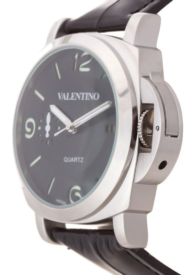 Watches - Valentino PANERAI IP LTHR STYLE MEN  LEATHER STRAP Strap Watch 20121907-BLACK SIL - BLACK DIAL
