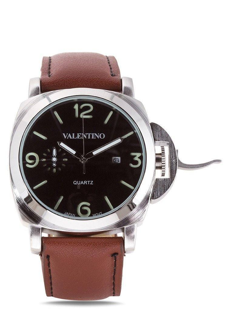 Watches - Valentino PANERAI IP LTHR STYLE MEN  LEATHER STRAP Strap Watch 20121907-BROWN