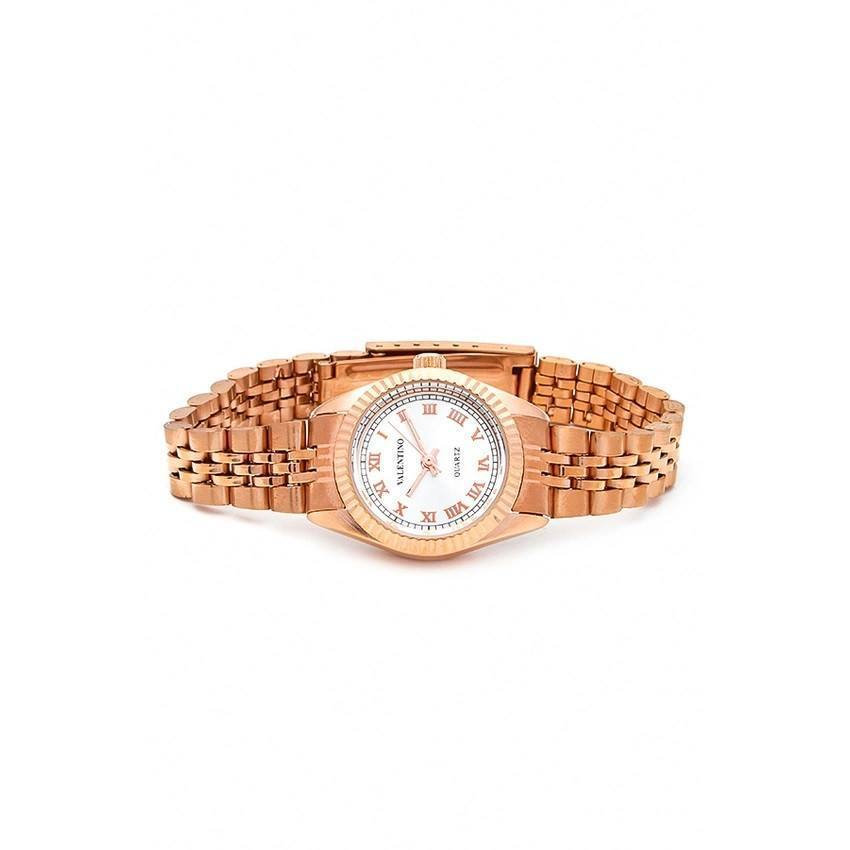 Watches - Valentino RLX 3H CLASSIC IP ROSE L WOMEN  STAINLESS BAND Strap Watch 20121569-ROSE - WHITE ROMAN