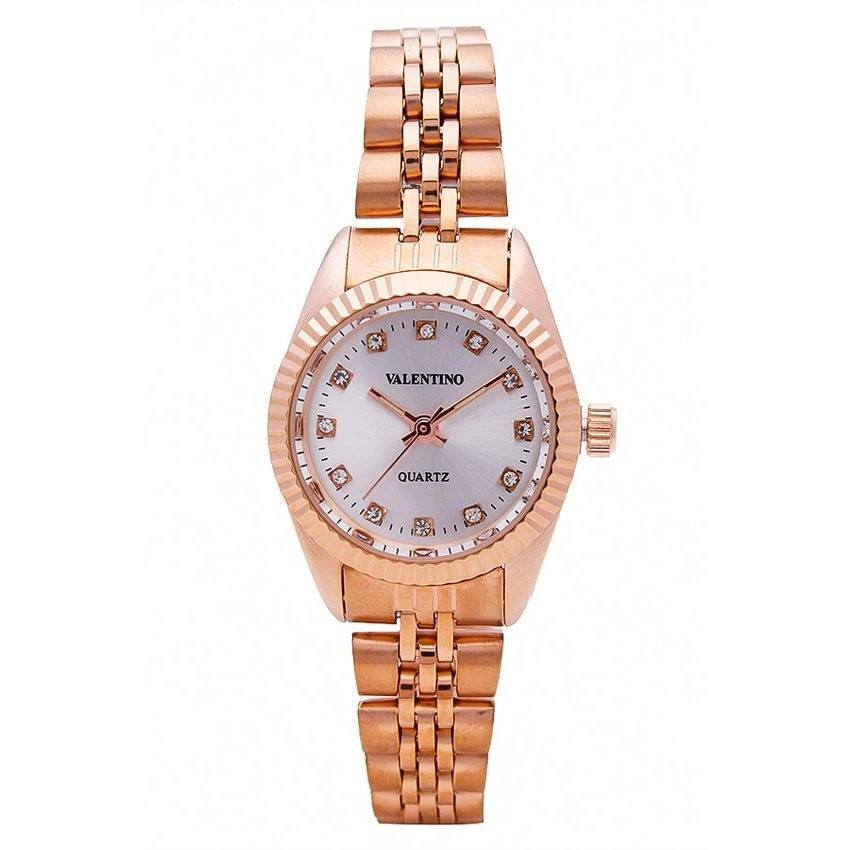Watches - Valentino RLX 3H CLASSIC IP ROSE L WOMEN  STAINLESS BAND Strap Watch 20121569-ROSE - WHITE STONE
