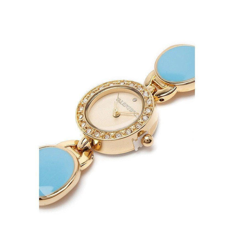 Watches - Valentino TORTOISE LUXE IP WOMEN  FASHION METAL - ALLOY Strap Watch 20121823-GOLD - BLUE STONE